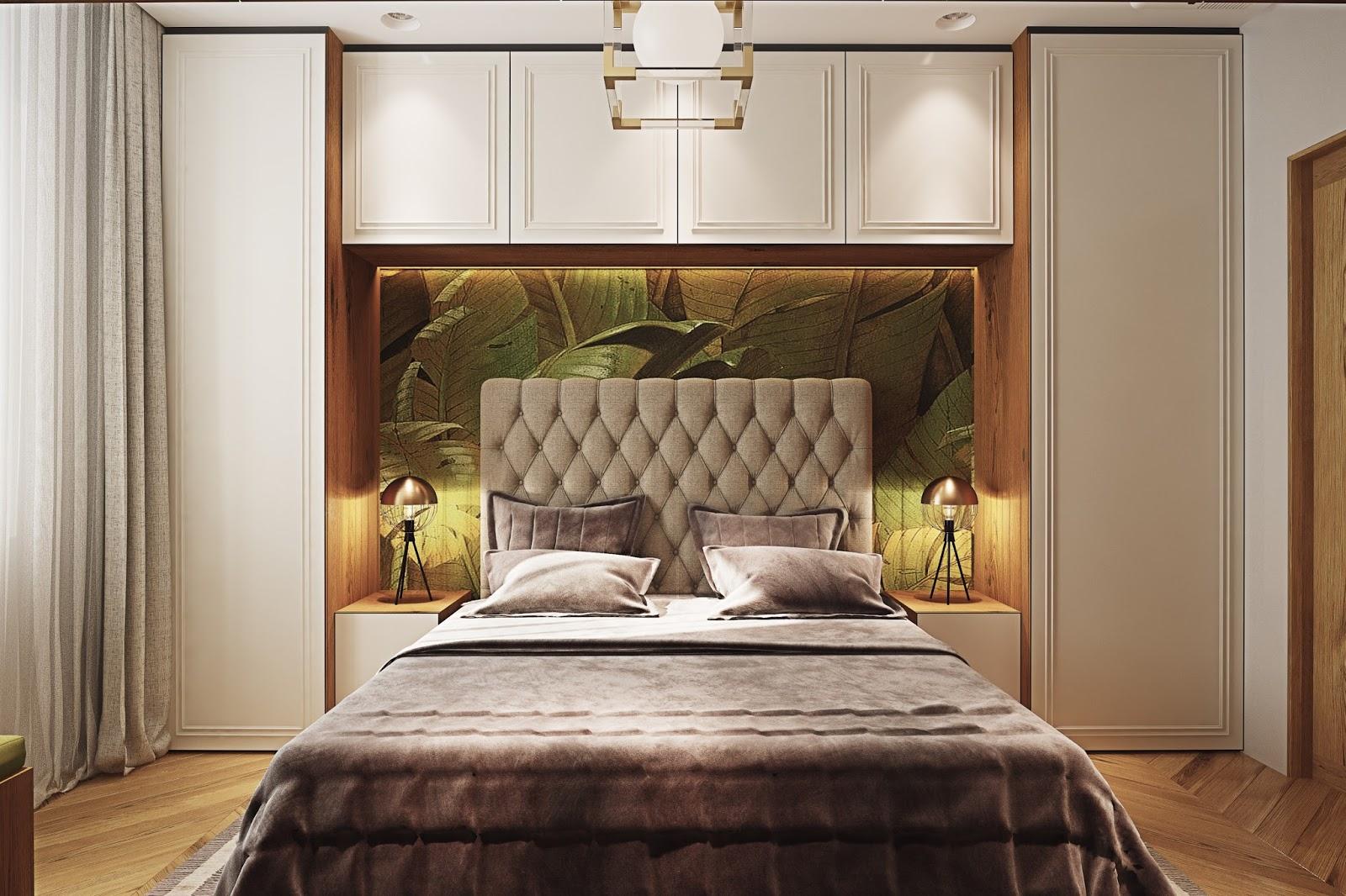 Спальня с комодами вокруг кровати дизайн фото